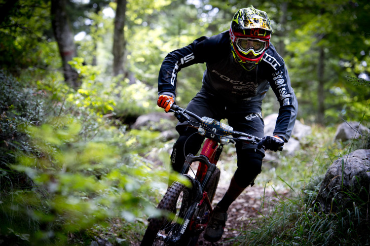 Winner Markus Reiser of Austria races down stage 5 of the 4th stop of the European Enduro Seriesat Molveno-Paganella, Italy on September 06, 2015. Free image for editorial usage only: Photo by Manfred Stromberg