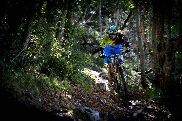 Winner Raphaela Richter of Germany races down stage 5 of the 4th stop of the European Enduro Seriesat Molveno-Paganella, Italy on September 06, 2015. Free image for editorial usage only: Photo by Manfred Stromberg