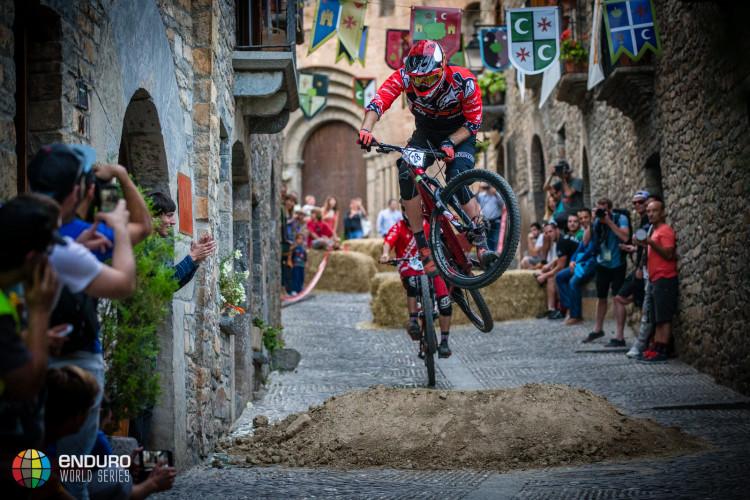Thomas Lapeyrie in the prologue. EWS round 7, Ainsa, Spain. Photo by Matt Wragg.
