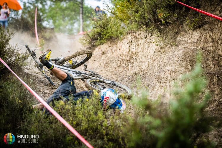 Matti Lehikoinen found conditions slick as the rain began to fall. EWS round 7, Ainsa, Spain. Photo by Matt Wragg.