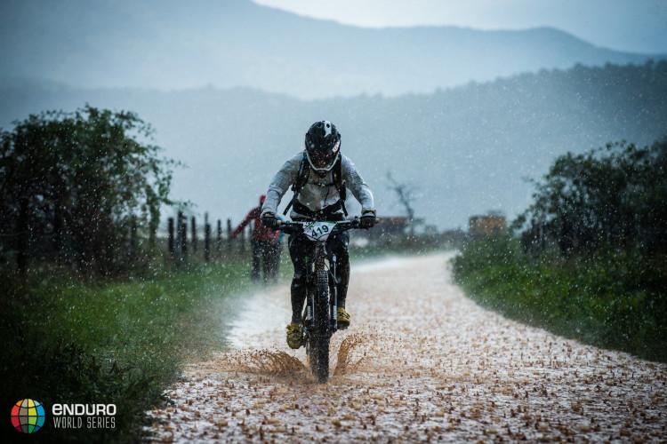 A rider heads back to the town. EWS round 7, Ainsa, Spain. Photo by Matt Wragg.