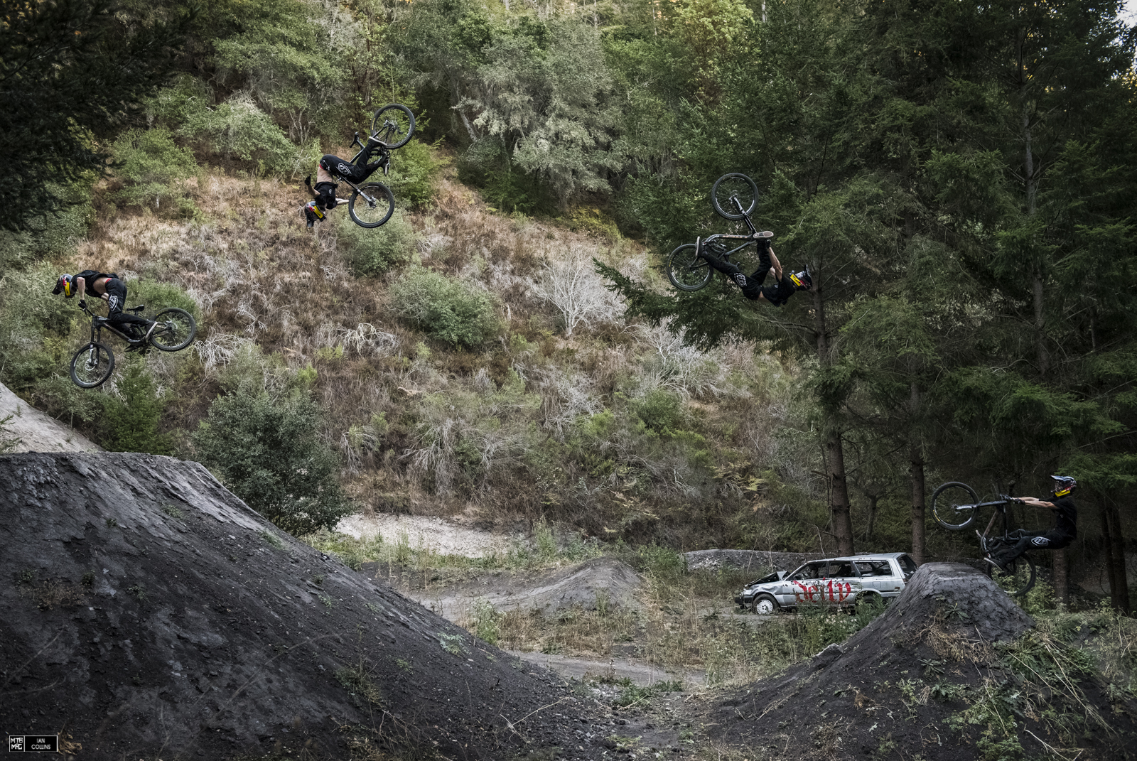 Brandon pushing the envelope with the most ridiculous combo on a DH bike. Flip Can to tuck.