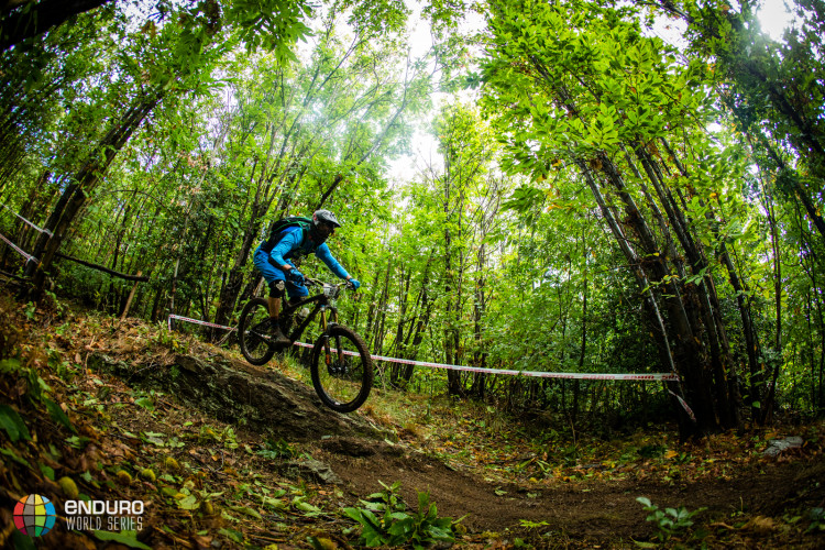 A rider in the forests of stage five. EWS round 8, Finale Ligure, Italy. Photo by Matt Wragg.