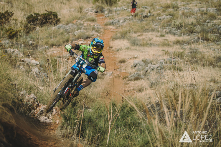 James Shirley from Greatbritain races down stage 1 for during the practice for the 5th stop of the European Enduro Series at Malaga / Benalmadena, Spain, on October 17, 2015. Free image for editorial usage only: Photo by Antonio Lopez