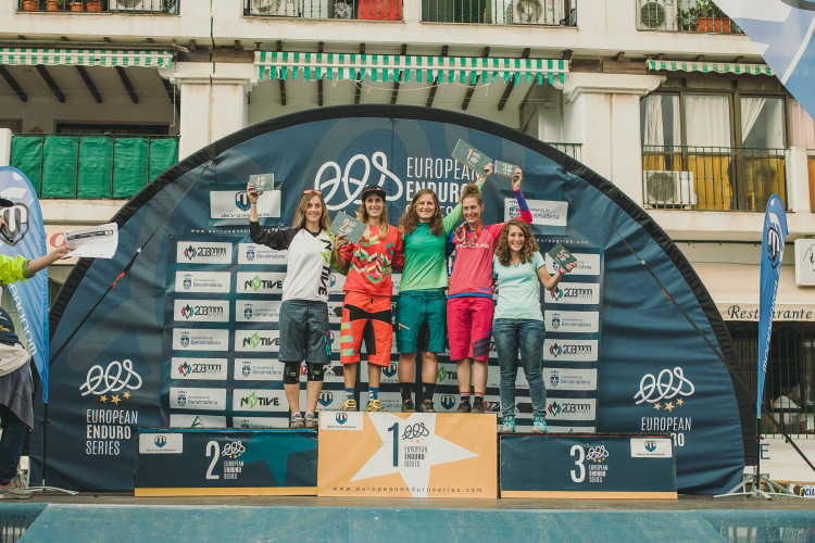 Fourth placed Laura KONIKOWSKI (GER), Second placed Sandra BOERNER (GER), SANCHES (ESP), event winner Lisa POLICZKA (GER), third placed Steffi TELTSCHER (GER) and fifth placed Miriam ALCANTARA (ESP) celebrate with their trophies during the 5th stop of the European Enduro Series in Malaga / Benalmadena, Spain, on October 18, 2015. Free image for editorial usage only: Photo by Antonio Lopez