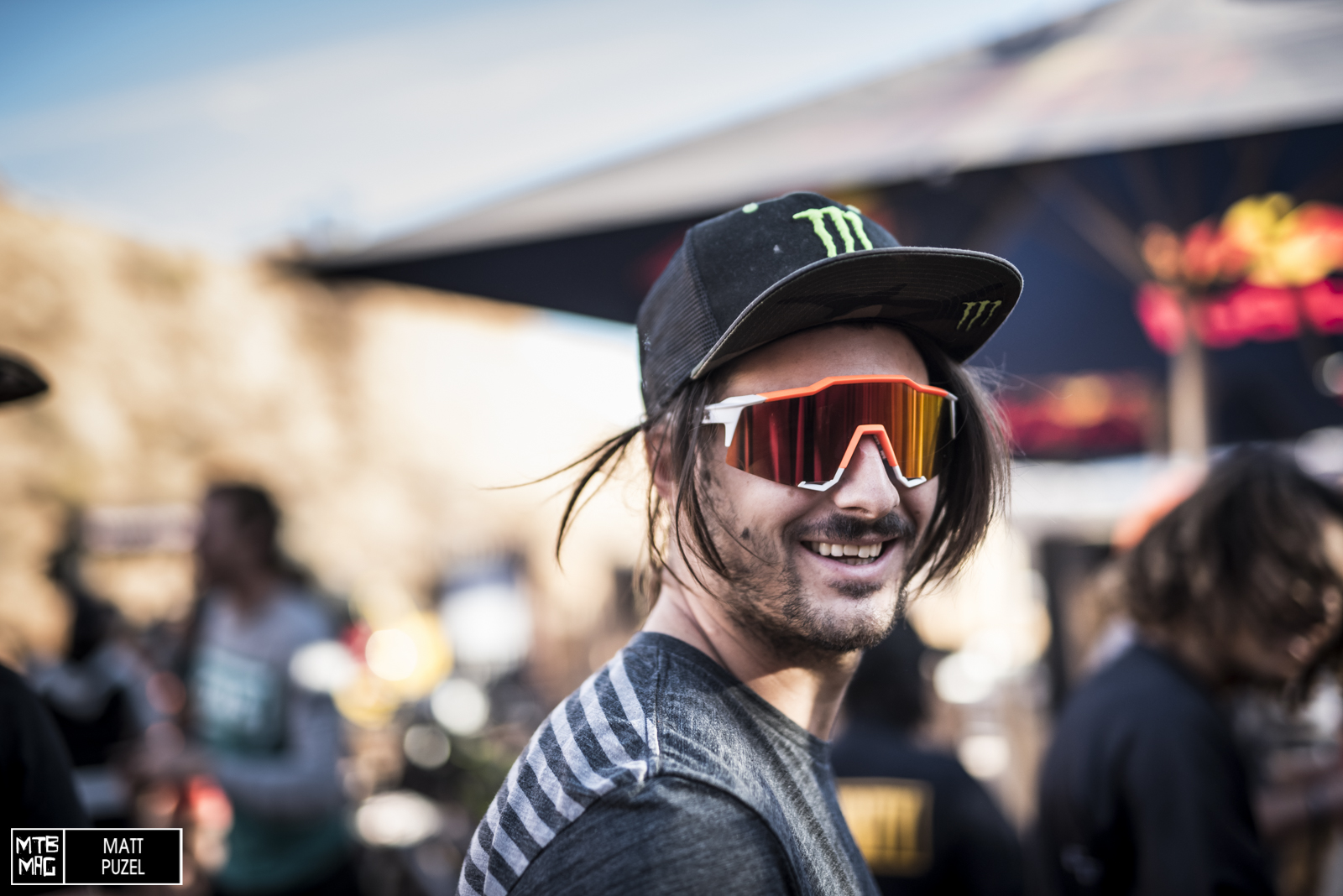 Sam Reynolds has cracked some jokes about how gnarly this event is but he's been smiling the whole time.