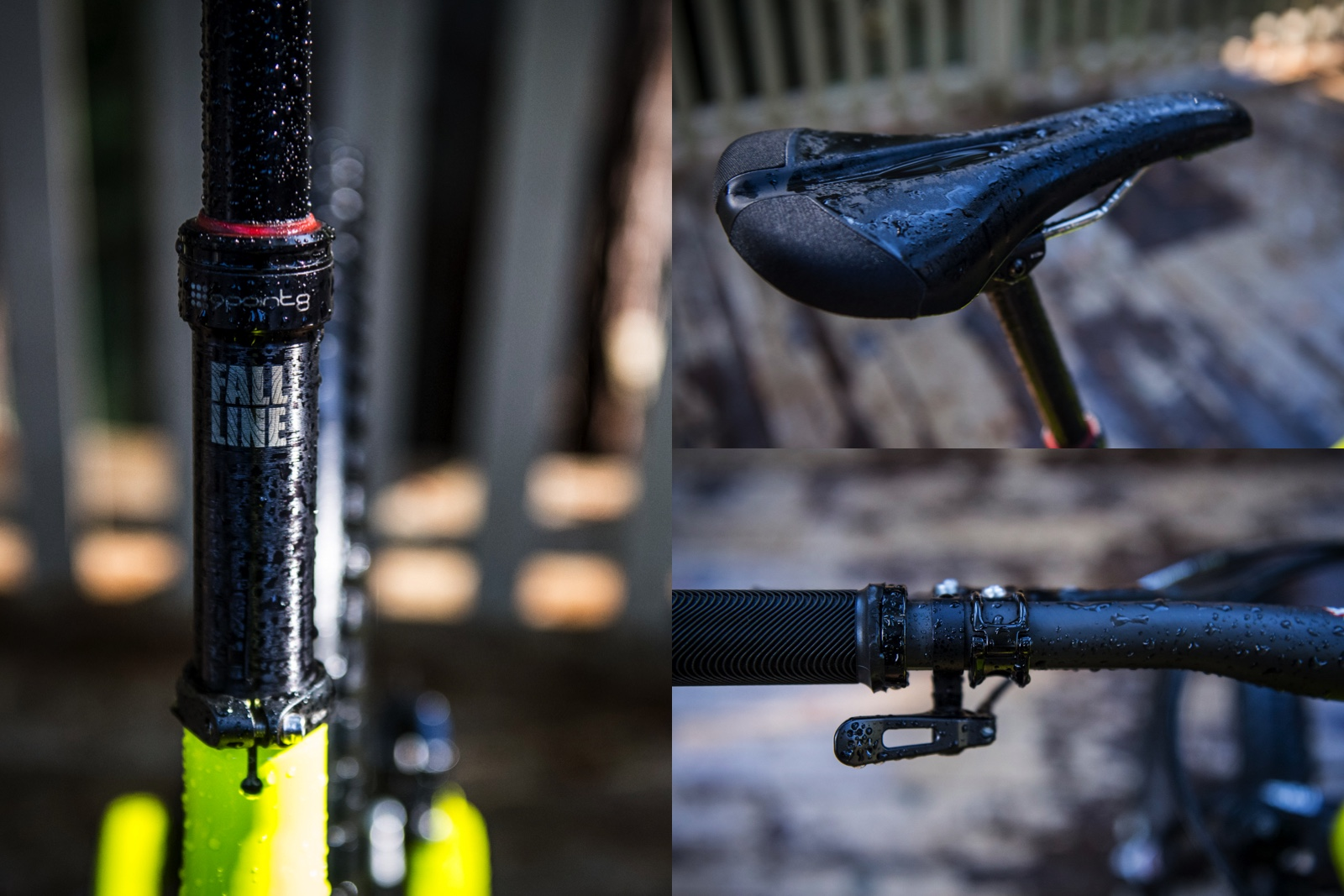 We're sitting on some new bits. The 9point8 Fall Line dropper post is a bit of a game changer. 150mm travel, internally routed. Look for a full review soon. Fizik's Monte enduro saddle has been making us smile so far.