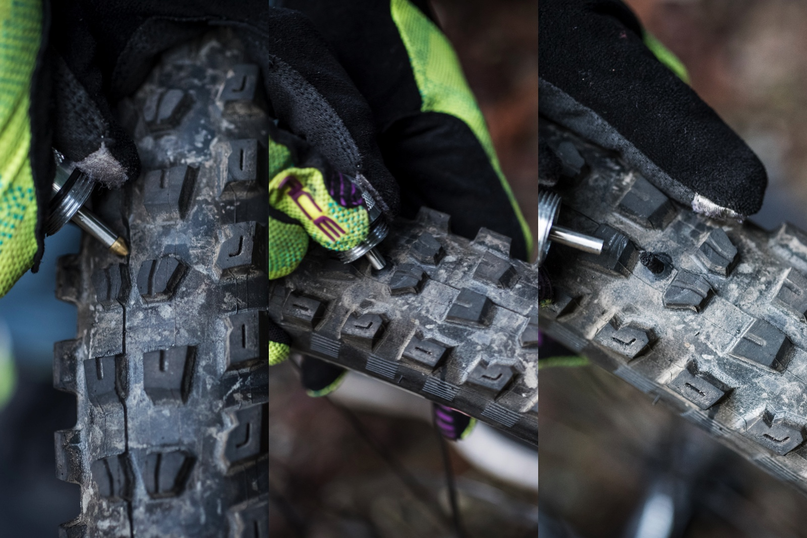 Left to right : take your thumb off of the puncture area and quickly jam the plug in perpendicular to the hole.