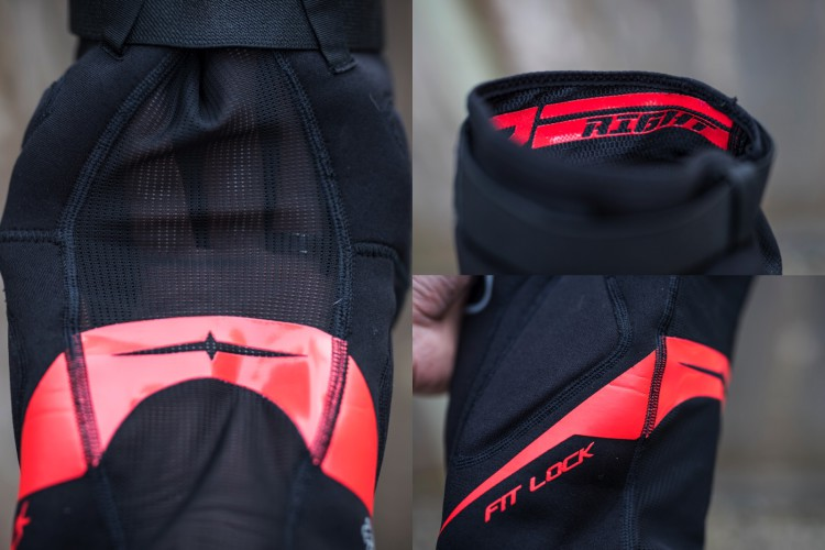 """Close ups of the mesh back panel, R/L indication built into the anti slip inner grip, and the """"Fit Lock"""" contoured rubberized section."""