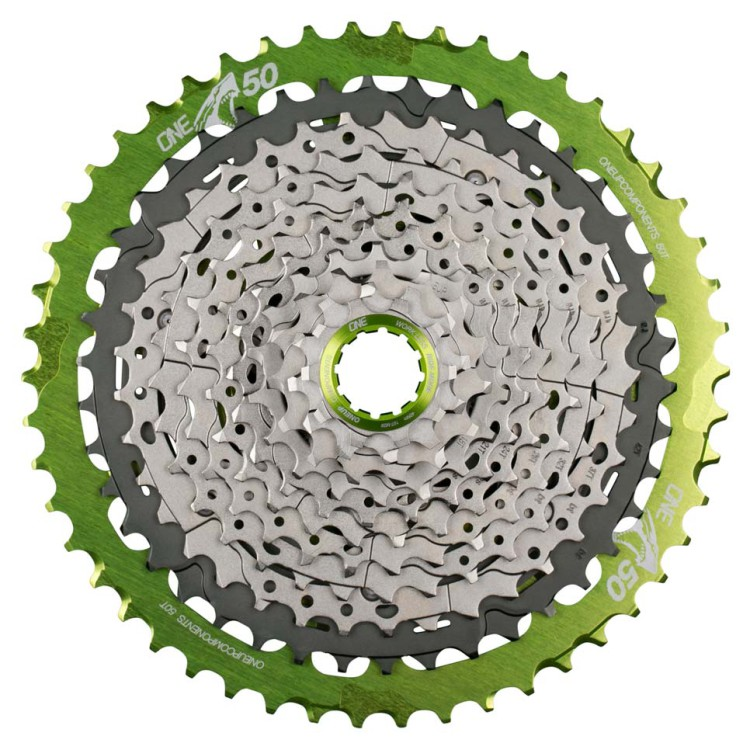 OneUp-Components-10-50T-Shark-Sprocket-Green-Assembled-M700-Front-966