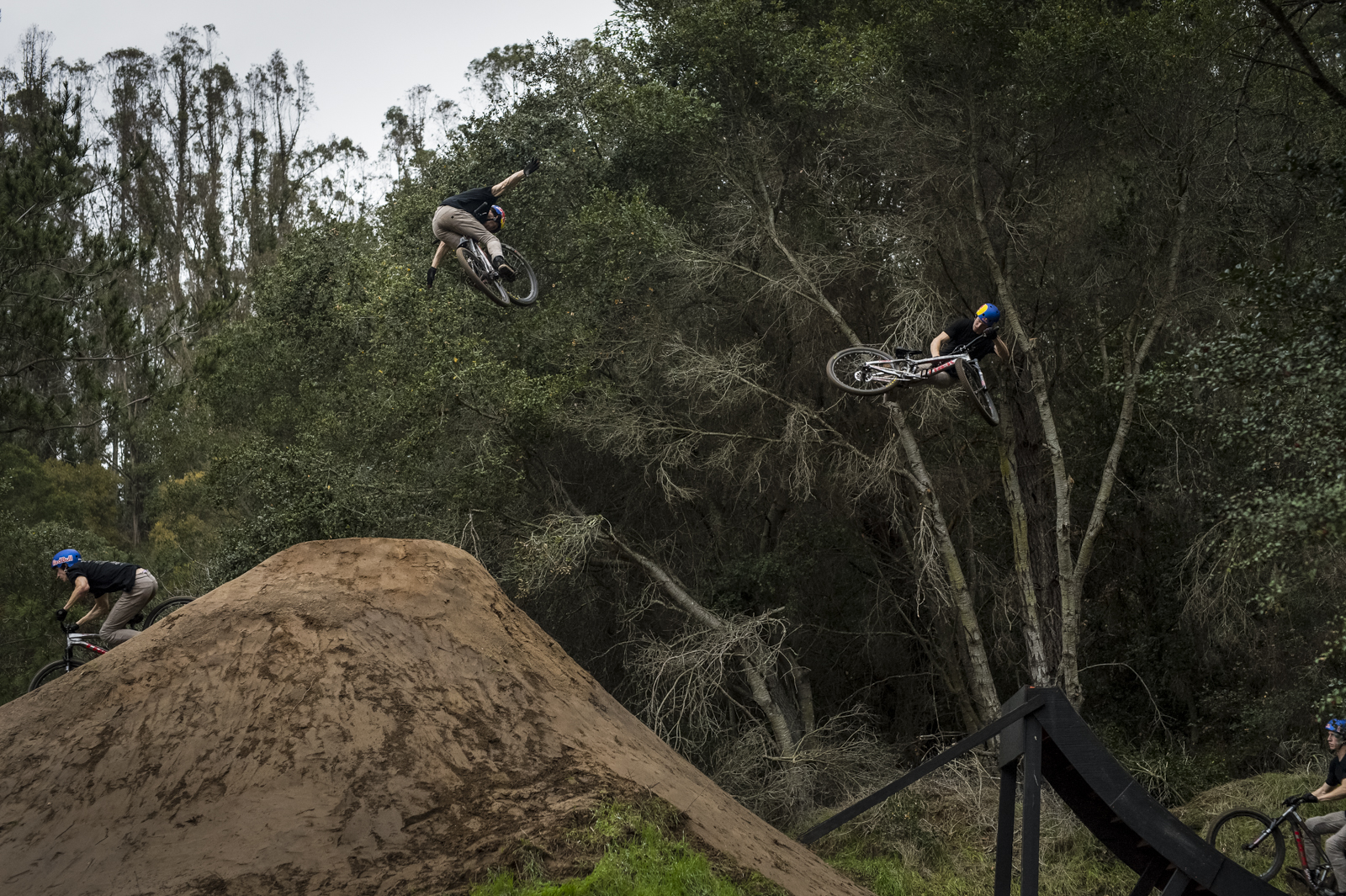 Perhaps the gnarliest combo we've witnessed - especially on a jump this small; it didn't come easy. 360 tailwhip to tuck no hander. Minds blown.