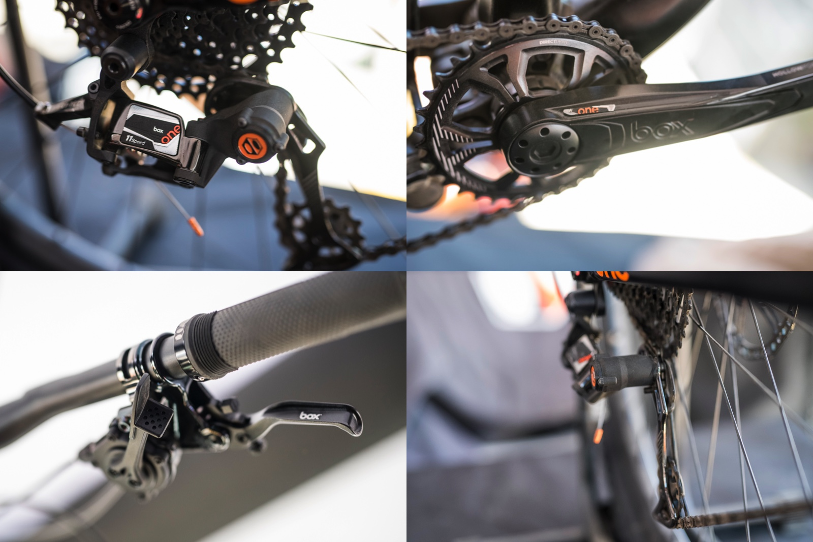 Some cool feature on this drivetrain. The derailleur moves inboard and away from contact with rocks and trailside obstacles. Also, the thumb shifter has a split paddle, both of which you push for upshifts and downshifts.