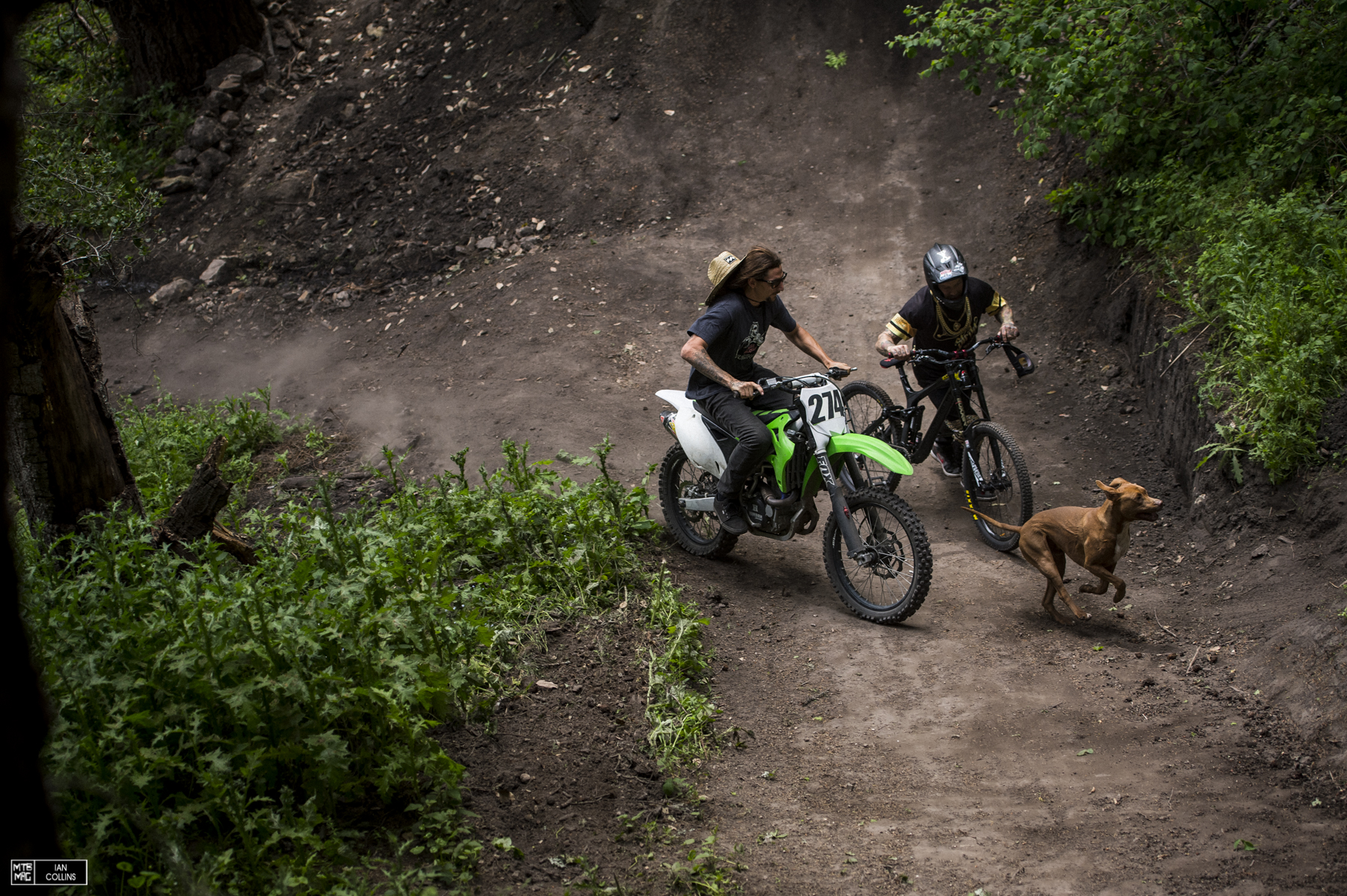 Swanpound master Arik Swan and Jordy Lunn head up for the first laps with an excited canine.