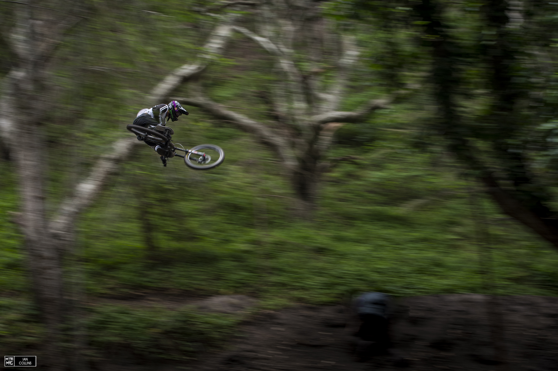 Kyle Jameson with a massive whip on a 60 foot booter that's shrouded by trees.