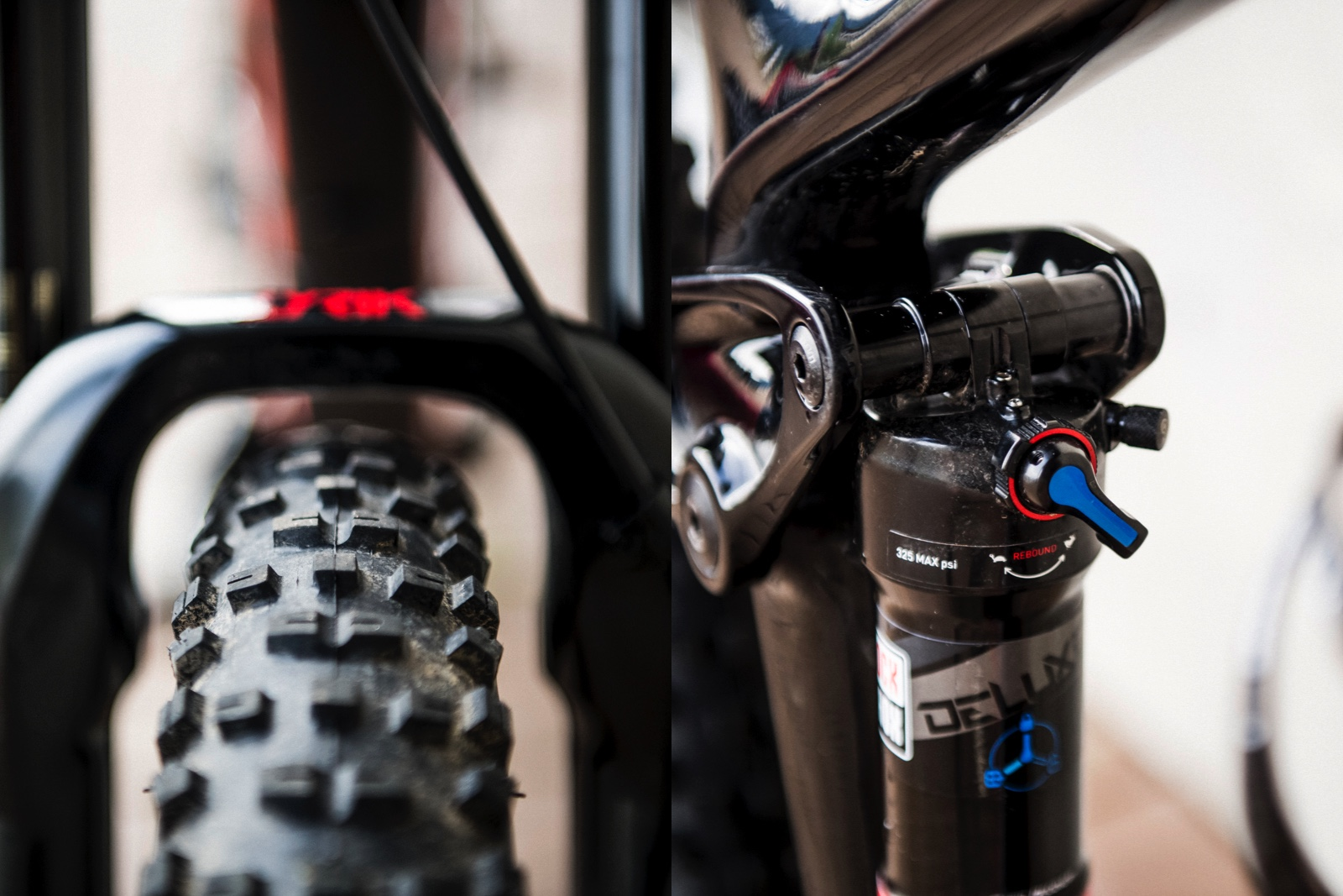 The Remedy is spec'd with RockShox suspension; up front it featured a travel adjust Lyrik with 160mm of travel and out back it had the new metric sized, high volume RockShox Deluxe.