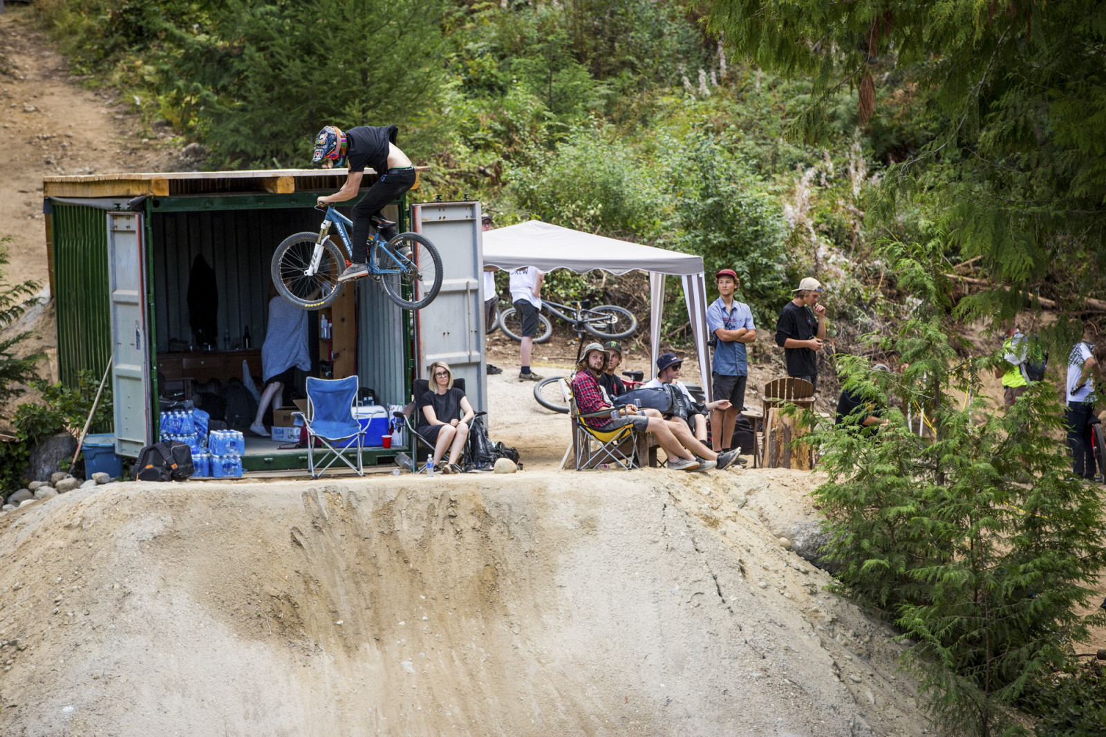 Erik Lawrenuk spinning off the container.  Photo : Dylan Dunkerton